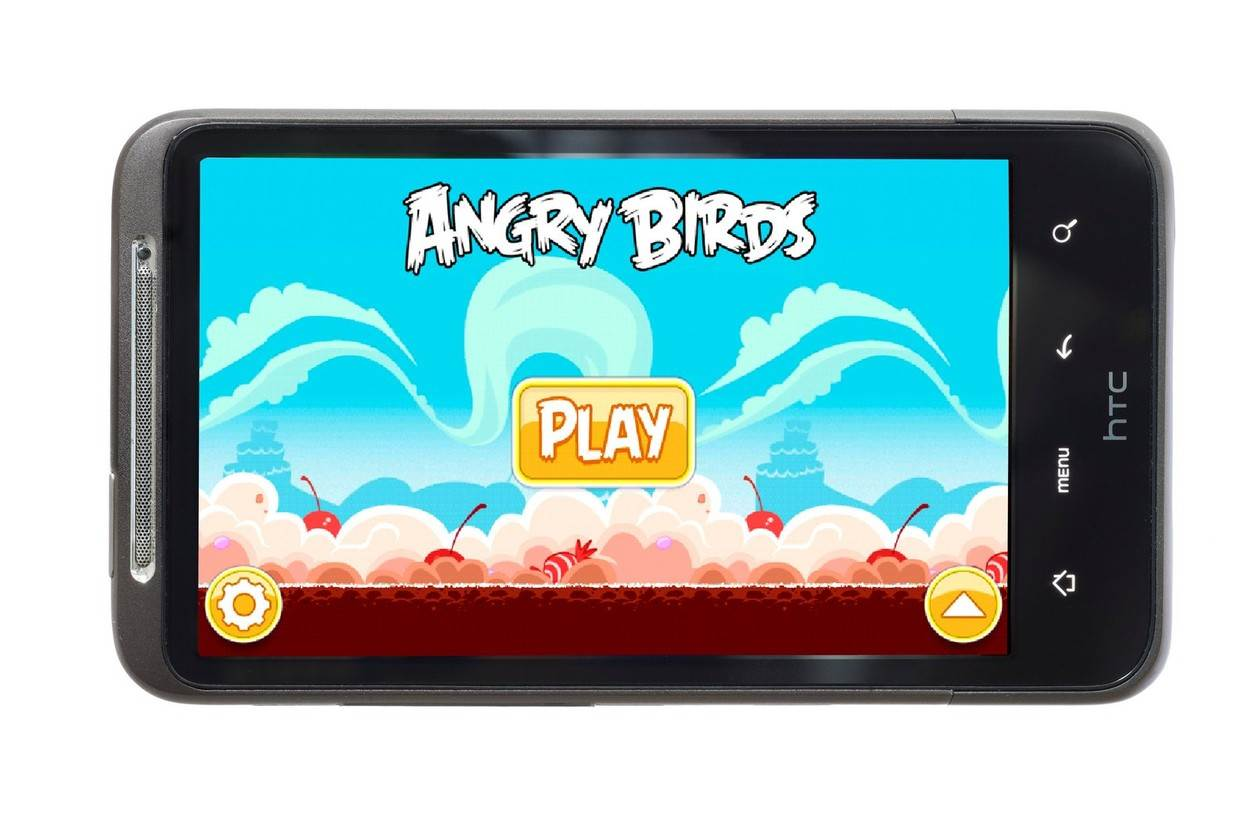 angry birds playing game games app smartphone;angry birds screenshot google android smartphone htc desire hd touchscreen cellphone cellphones smartphones mobile device devices studio shot still life;NOT_EDITORIAL_ONLY