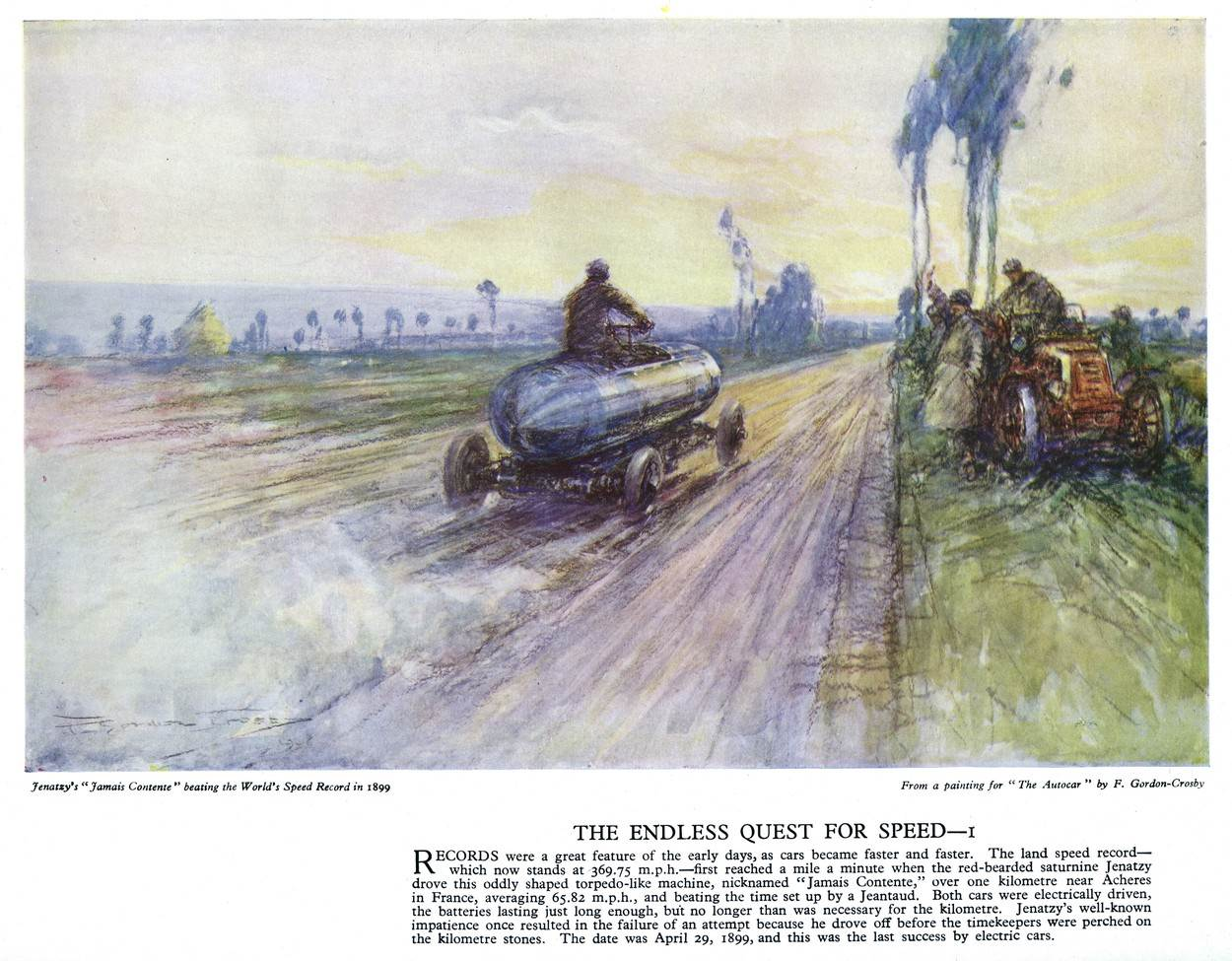 transport;motoring;motor;car;vehicle;frederick;gordon;crosby;speed;autocar;poster;camille;beating;beat;beater;world;record;acheres;france;65;mph;1899;1890s;jenatzy;road;tractor;waving;men;pioneer;jamais;contente;never;content;history;historical