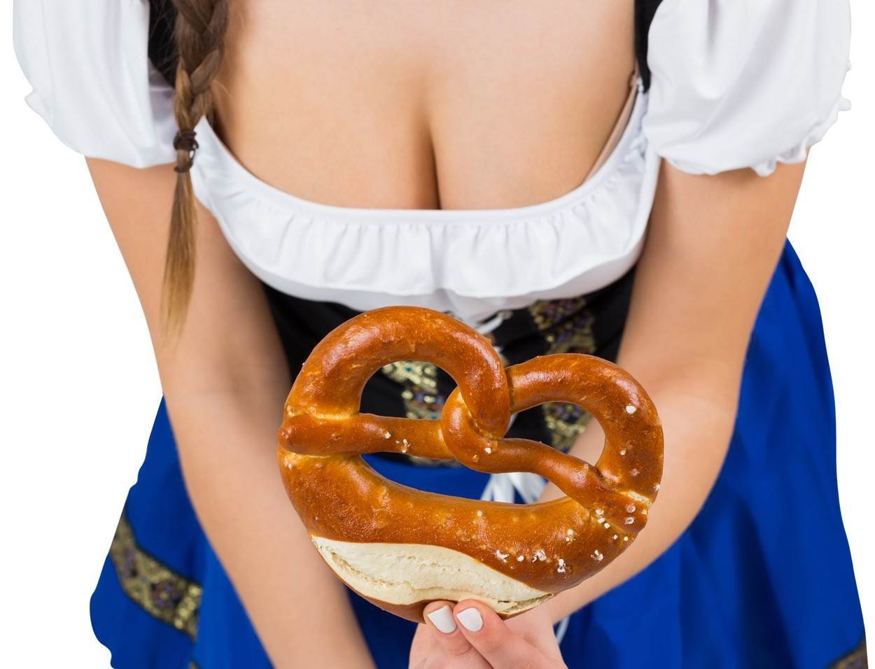 Young Adult;Woman;Female;Caucasian;Pretty;Beautiful;Wearing;Costume;Oktoberfest;German Culture;Celebration;Event;Traditional Clothing;Dress;Culture;Dirndl;Blue;Posing;Holding;Pretzel;Cleavage;Cut Out;Isolated;White Background