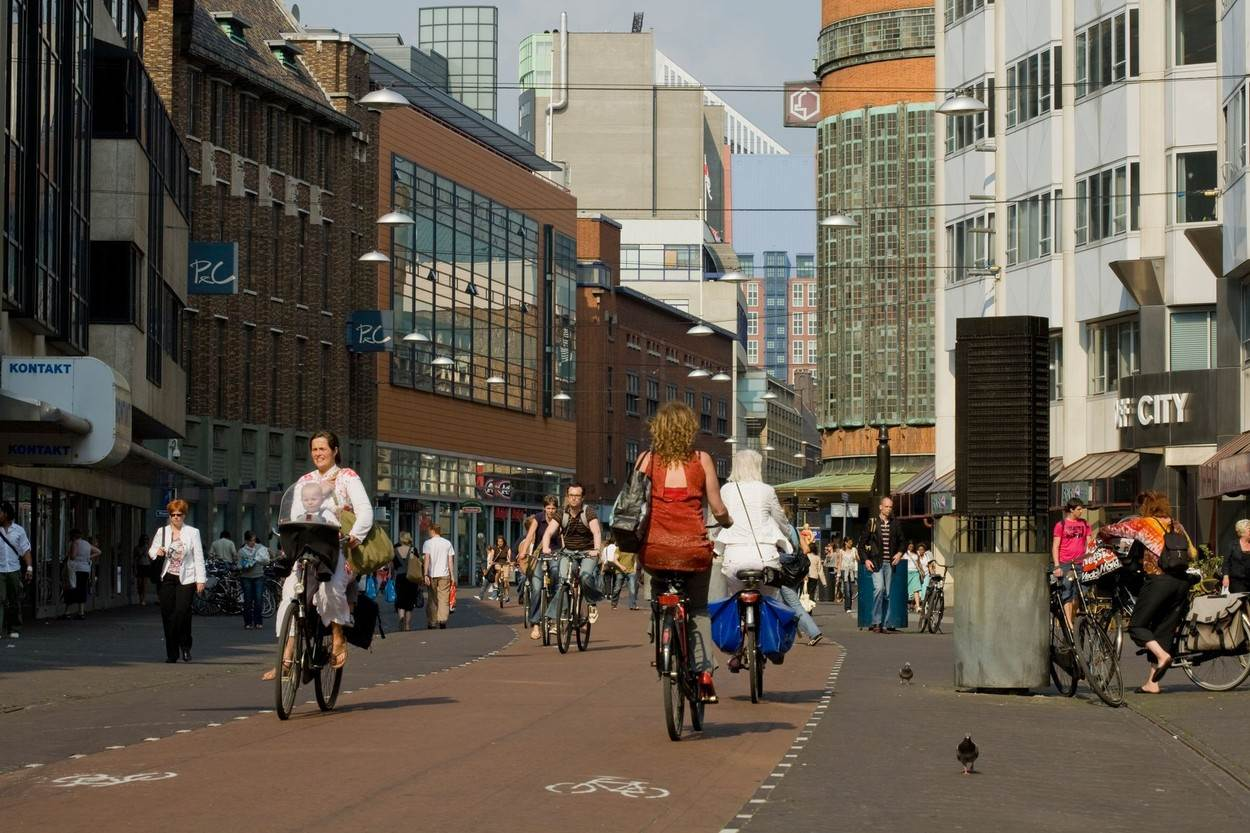 architecture;building;business;bycicle;centre;city;cyclist;Den;Haag;Dutch;Europe;European;grote;marktstraat;Holland;modern;Netherlands;shopping;street;summer;The;Hague;Travel;zuid;holland,NOT_EDITORIAL_ONLY
