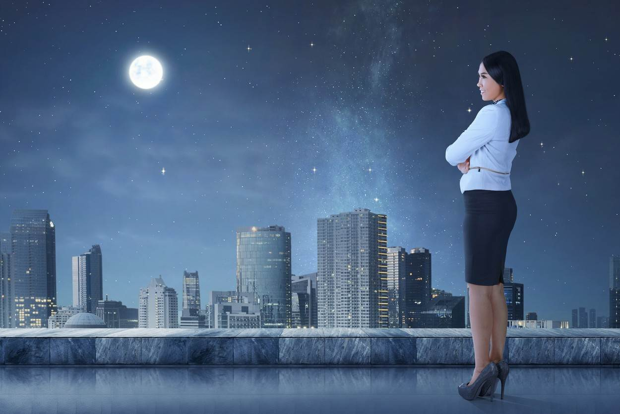 woman;asian;indonsia;standing;black;urban;skyline;city;sky;cityscape;view;architecture;building;beautiful;modern;town;skyscraper;downtown;business;outdoor;businesswoman;employee;happy;professional;worker;young;looking;person;tower;evening;cloud;blue;night;scene;star;moon;moonlight;terrace;pretty