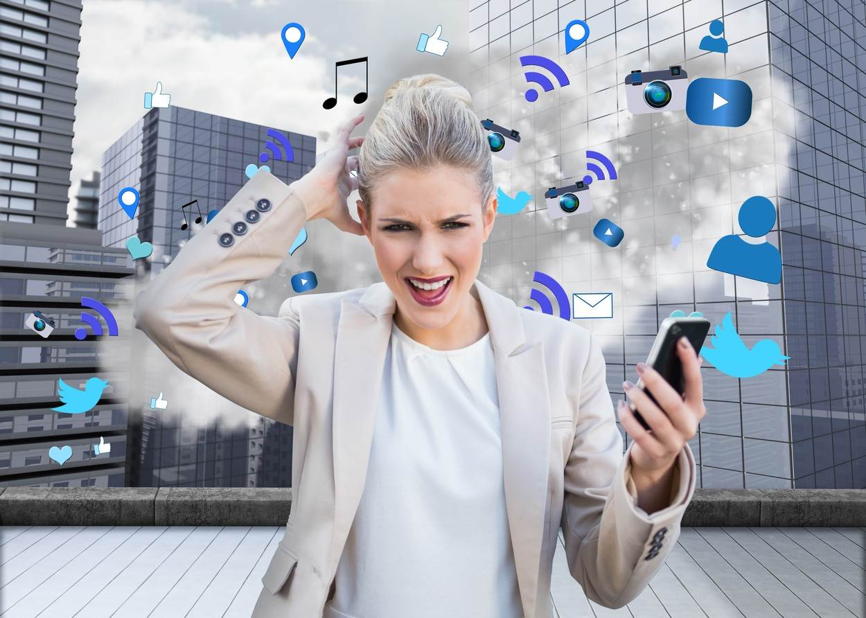 20s;Young Adult;Woman;Female;Caucasian;Digital;Digitally Generated;Computer Graphic;Businesswoman;Suit;Well Dressed;Smart;Elegant;Classy;Stylish;Angry;Rage;Furious;Anger;Shouting;Hand On Head;Annoyed;Frustrated;Stressed;Holding;Smartphone;Device;Technology;Business;Looking At Camera