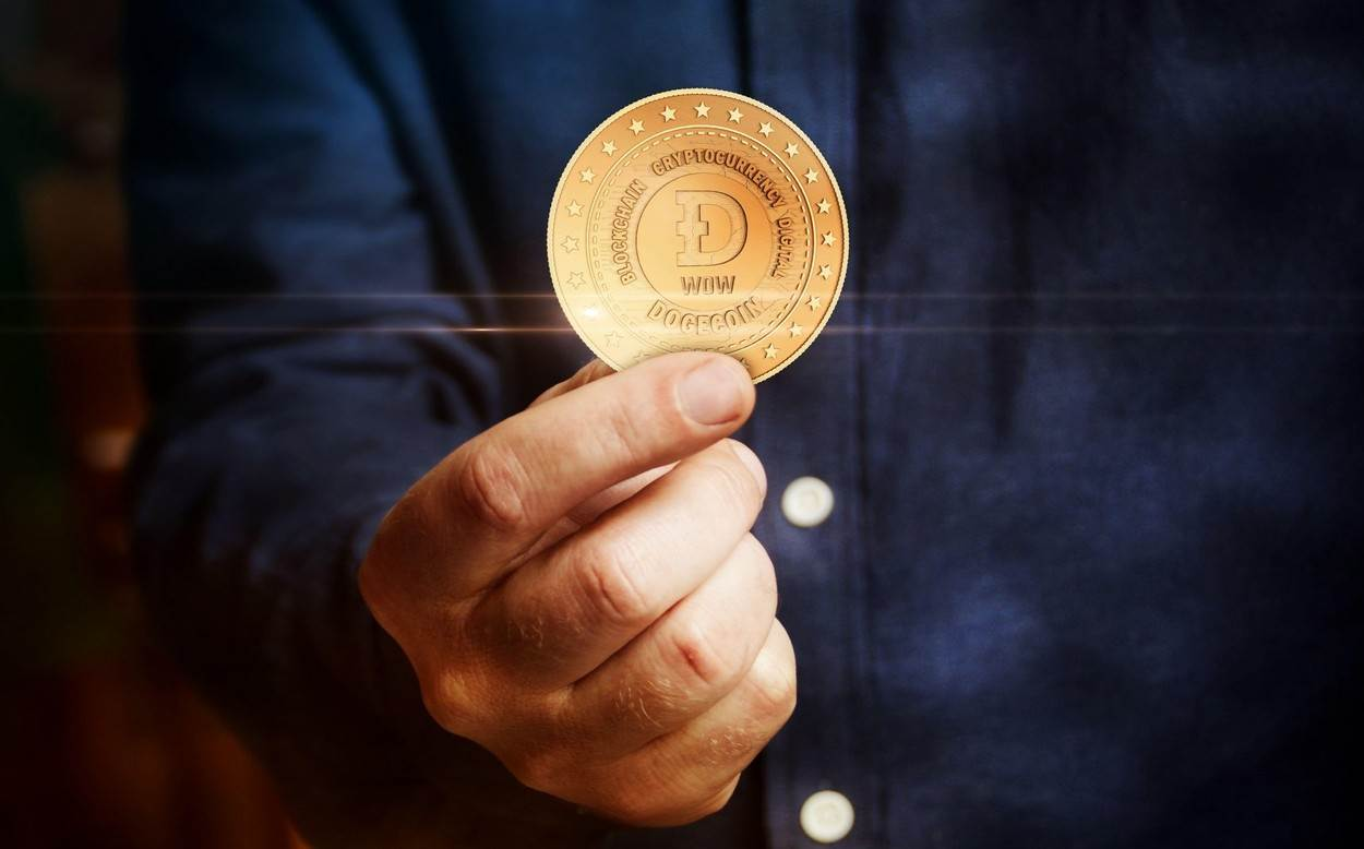Dogecoin;WOW;Doge;blockchain;cryptocurrency;coin;abstract;golden;concept;symbol;metal;hand;man;3d;fintech;finance;technology;money;mining;crypto;currency;token;economy;network;business;decentralized;virtual;digital;exchange;internet;NOT_EDITORIAL_ONLY