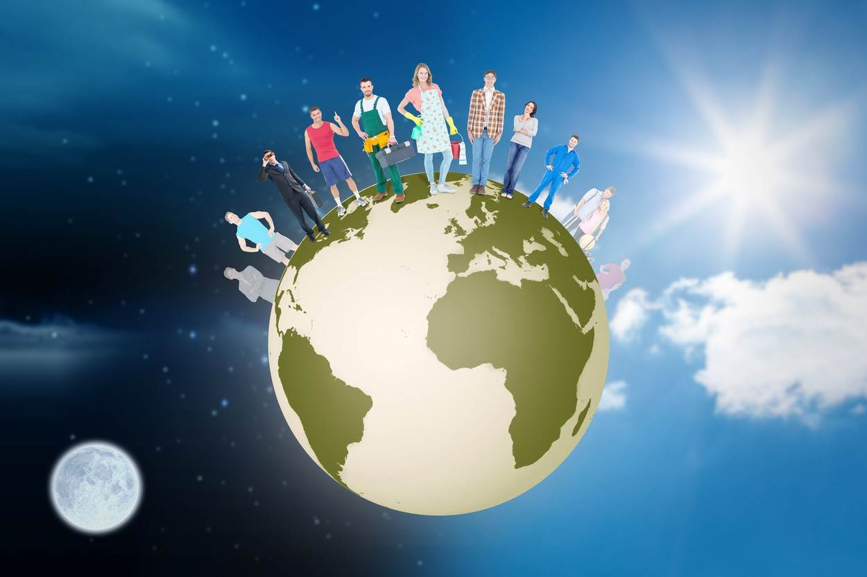 20s;Young Adult;Man;Male;Caucasian;30s;Mid Adult;Woman;Female;Digital;Digitally Generated;Computer Graphic;Night;Sky;Stars;Celestial;Twinkling;Blue Sky;Clouds;Cloudy;Sun;Sunlight;Sunny;Lens Flare;Earth;Global;International;World Wide;Map;Standing;People;Diverse;Group;Population;Moon;Luna;Full Moon;Space;Copy Space;Earth Day