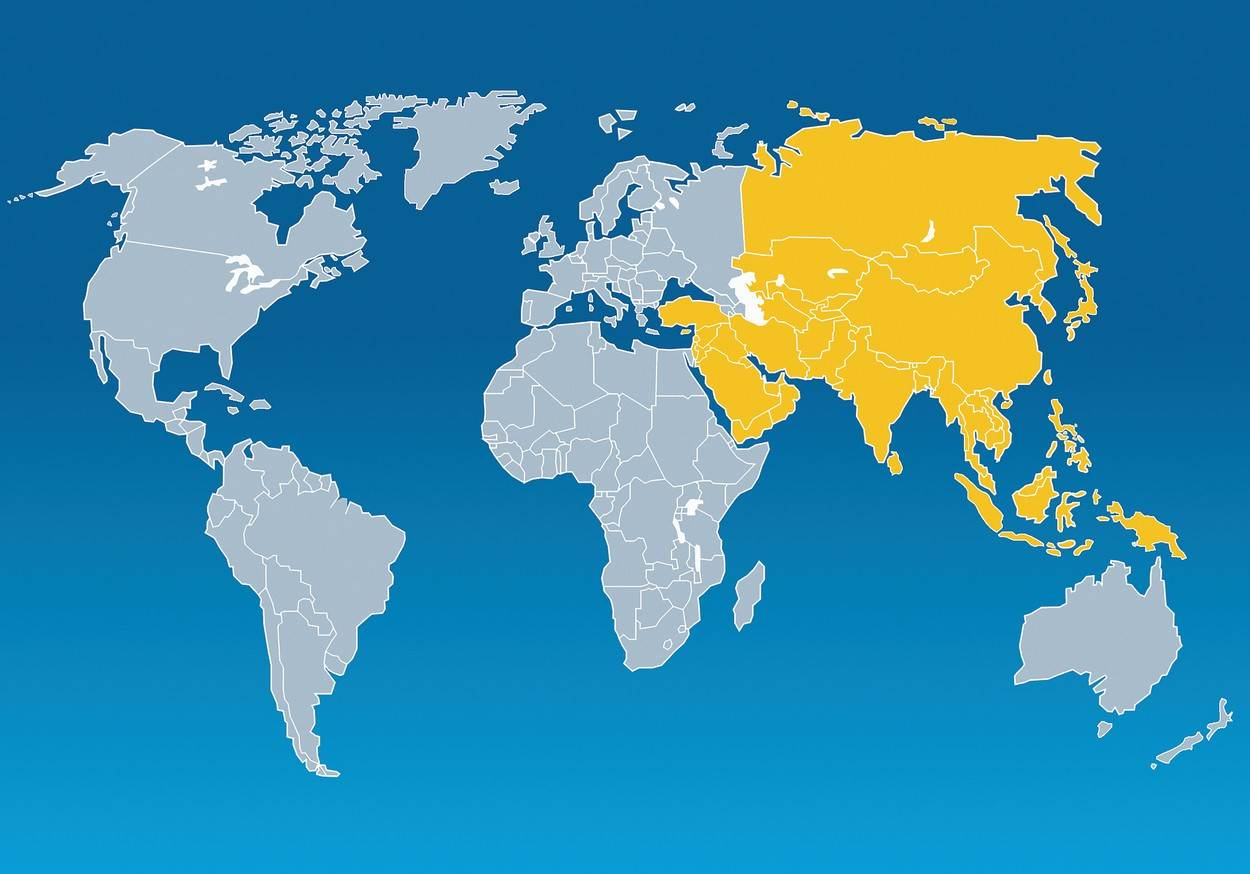 blue background;yellow;digitally generated image;global;international;asia;planet earth;map;nobody;outline;Community;Global Village;Yellow;Global;No People;Outline;International Match;Asia;Coloured Background;Blue Background;Digitally Generated Image;Map;Symbol;Orthographic Symbol;Numeral;Earth;Business;Global Business;Communication;Global Communications