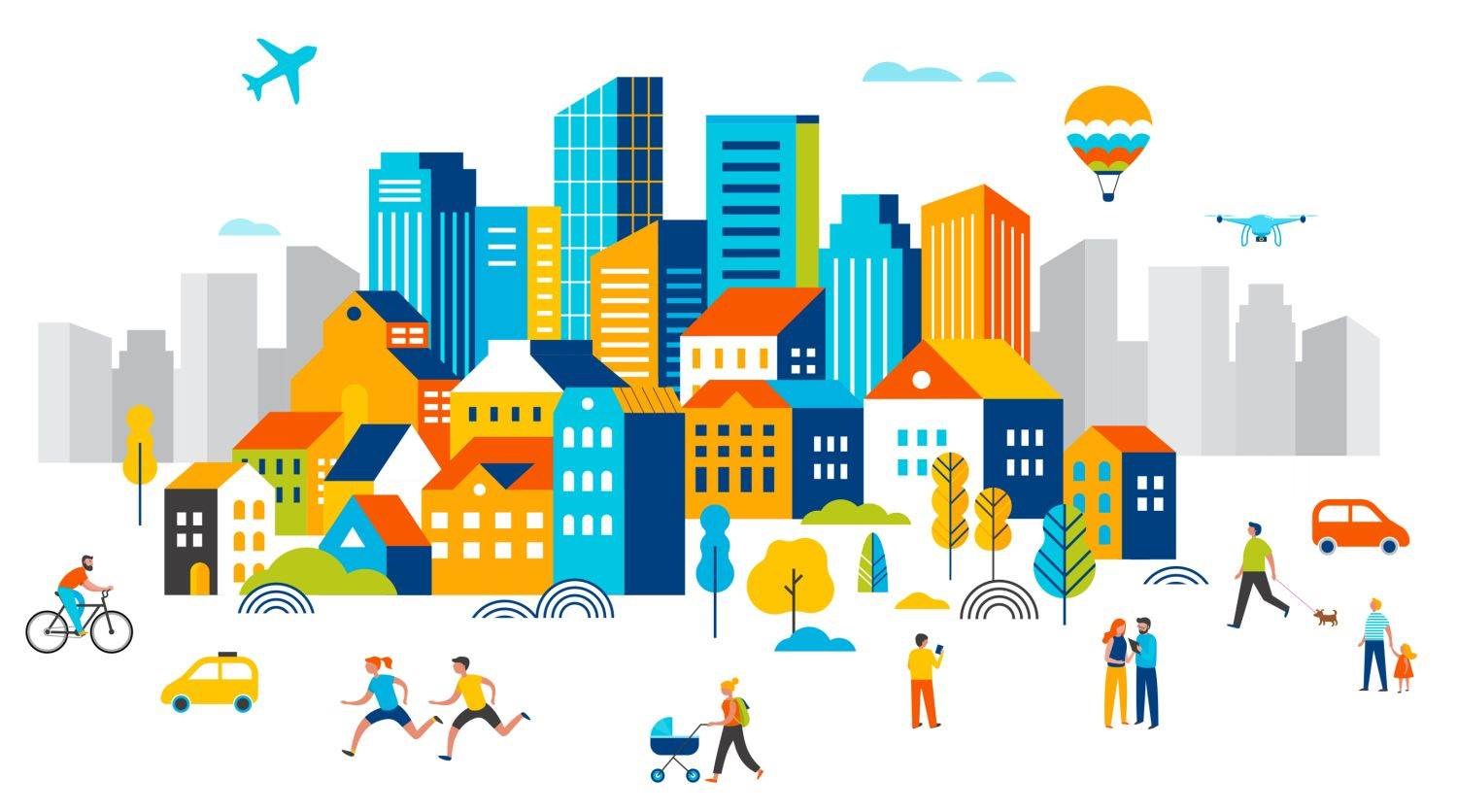 plane,small,infographic,bicycle,run,building,scene,pin,road,city